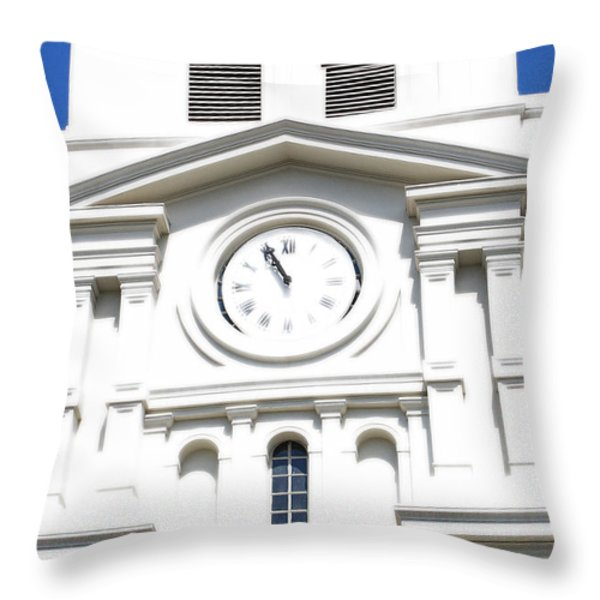 St Louis Cathedral Clock Jackson Square French Quarter New Orleans Diffuse Glow Digital Art Throw Pillow by Shawn O'Brien