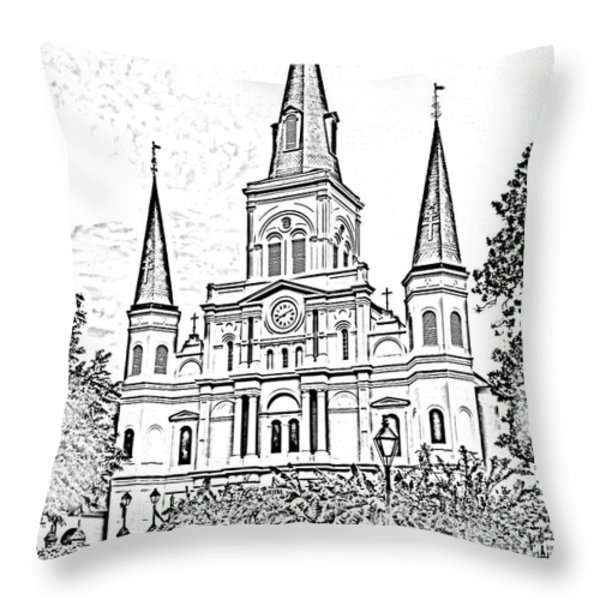 St Louis Cathedral Jackson Square French Quarter New Orleans Photocopy Digital Throw Pillow by Shawn O'Brien