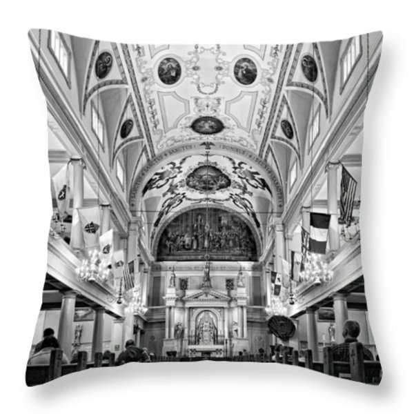 St. Louis Cathedral Monochrome Throw Pillow by Steve Harrington