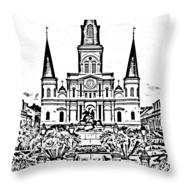 St Louis Cathedral On Jackson Square In The French Quarter New Orleans Photocopy Digital Art Throw Pillow by Shawn O'Brien