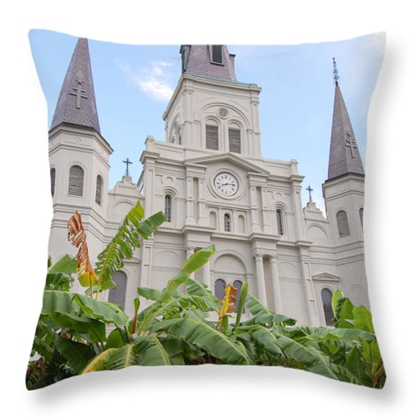 St Louis Cathedral Rising Above Palms Jackson Square French Quarter New Orleans Print  Throw Pillow by Shawn O'Brien