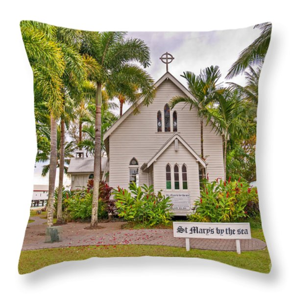 St Mary's By The Sea Throw Pillow by Bob and Nancy Kendrick