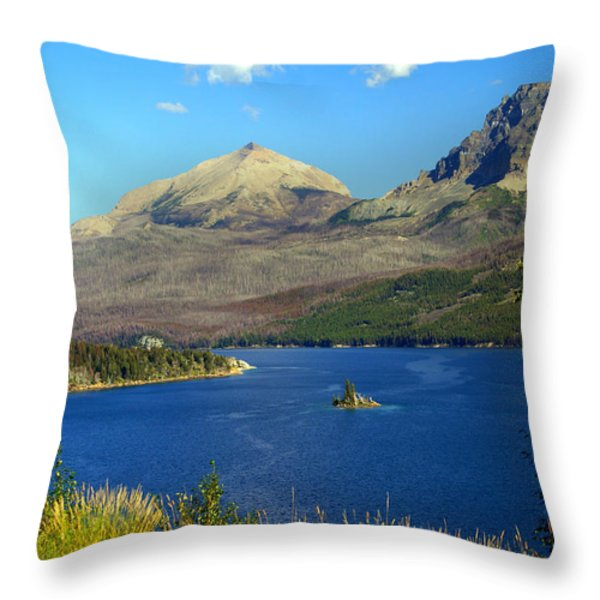 St. Mary's Lake 1 Throw Pillow by Marty Koch