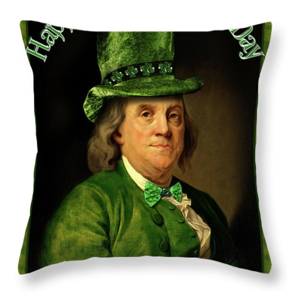 St Patrick's Day Ben Franklin Throw Pillow by Gravityx Designs