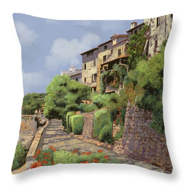 St Paul de Vence Throw Pillow by Guido Borelli
