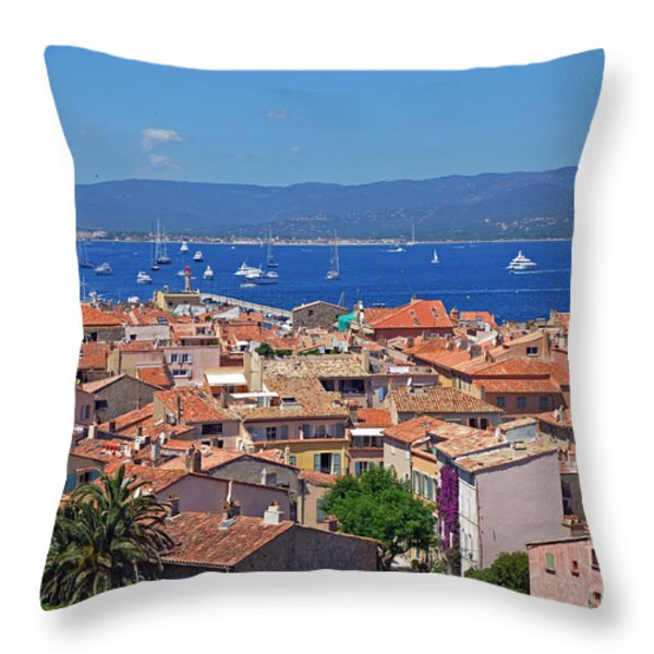 St-tropez Skyline Throw Pillow by Corinne Rhode