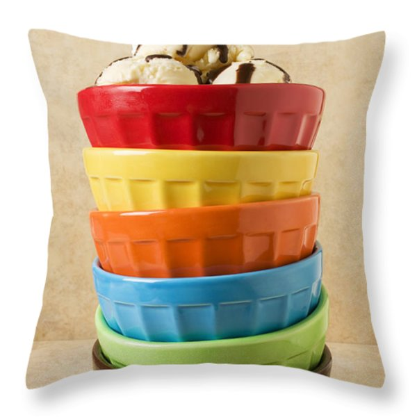 Stack Of Colored Bowls With Ice Cream On Top Throw Pillow by Garry Gay