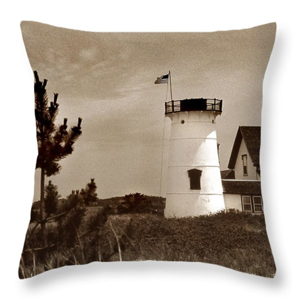 Stage Harbor Lighthouse Throw Pillow by Skip Willits