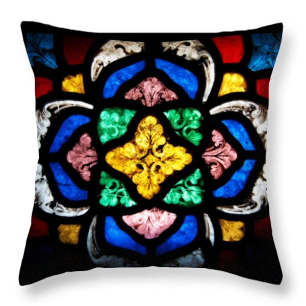 Stained Glass Flourishes Throw Pillow by Lisa Knechtel