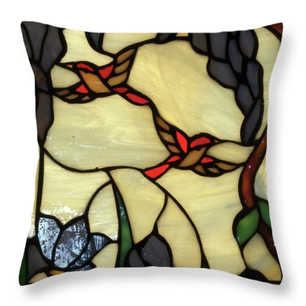Stained Glass Humming Bird Vertical Window Throw Pillow by Thomas Woolworth