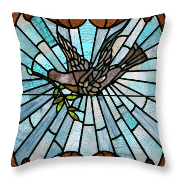 Stained Glass Lc 14 Throw Pillow by Thomas Woolworth