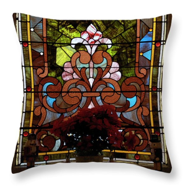 Stained Glass Lc 17 Throw Pillow by Thomas Woolworth