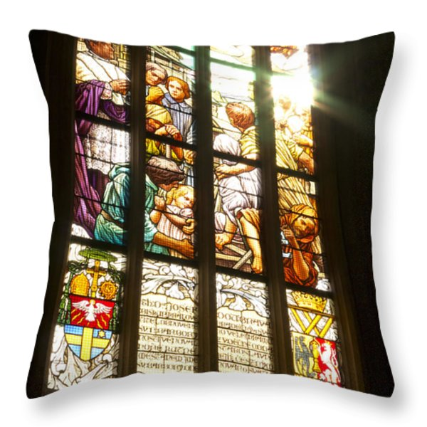 Stained Glass Window Throw Pillow by Michal Boubin
