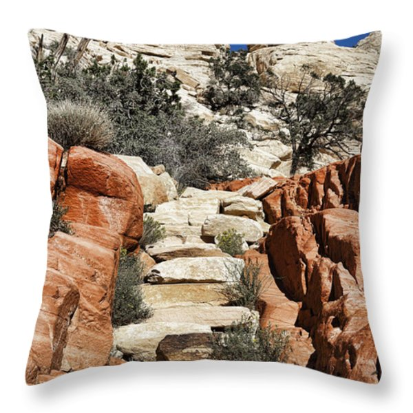 Staircase Stones Throw Pillow by Kelley King