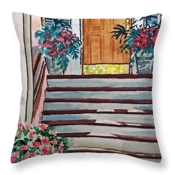 Stairs Sketchbook Project Down My Street Throw Pillow by Irina Sztukowski