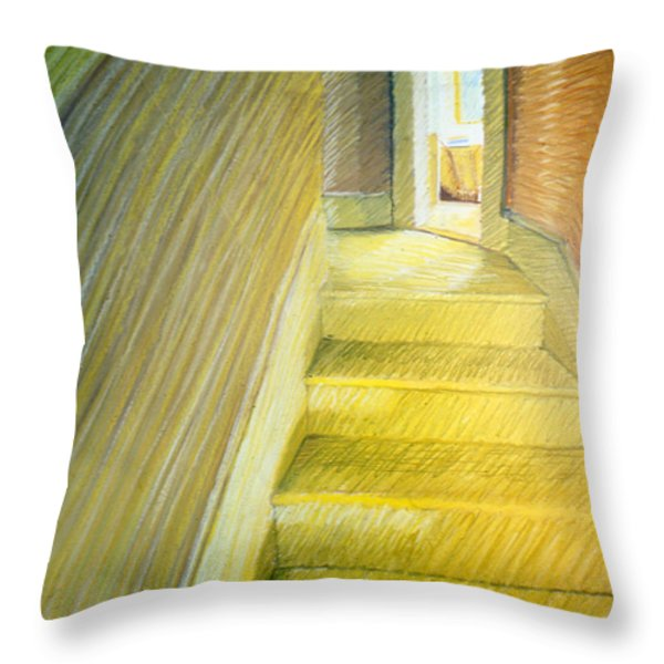 Stairwell In Malden Apartment 1978 Throw Pillow by Nancy Griswold