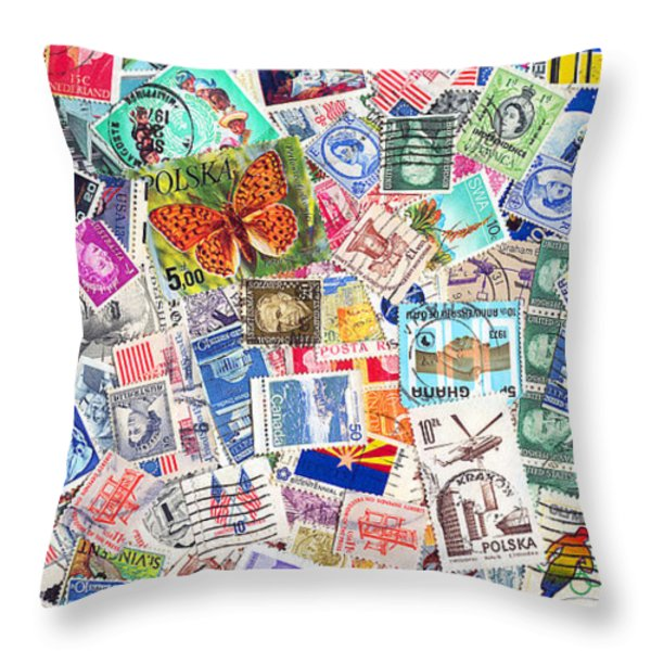 Stamp Collection . 2 To 1 Proportion Throw Pillow by Wingsdomain Art and Photography