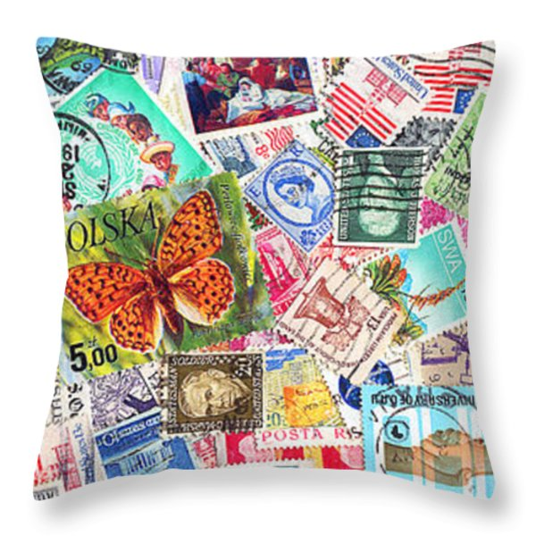 Stamp Collection . 3 to 1 Proportion Throw Pillow by Wingsdomain Art and Photography