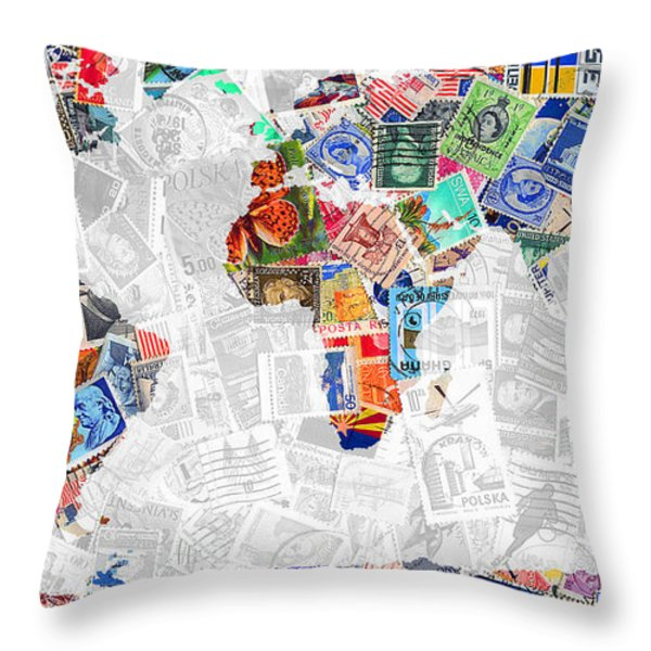 Stamps Of The World Map . V2 Throw Pillow by Wingsdomain Art and Photography
