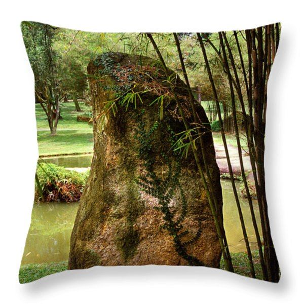 Standing Stone with Fern and Bamboo 19A Throw Pillow by Gerry Gantt