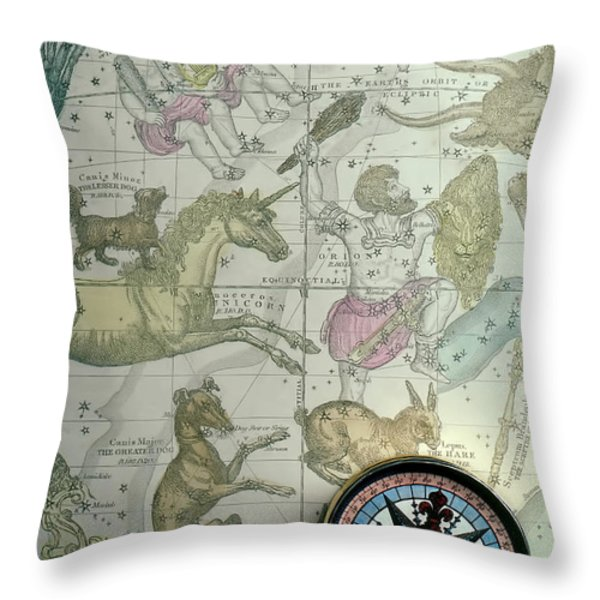 Star Map And Compass Throw Pillow by Garry Gay