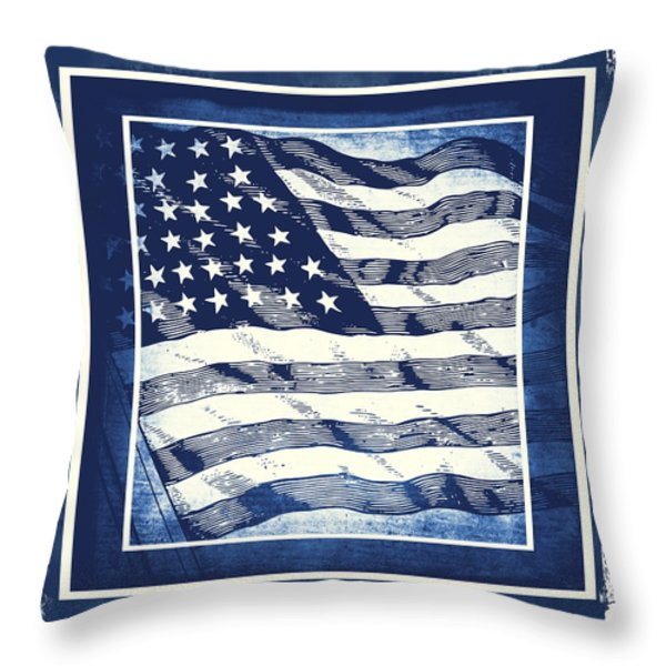 Star Spangled Banner Blue Throw Pillow by Angelina Vick