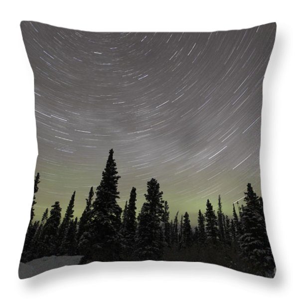Star Trails, Milky Way And Green Aurora Throw Pillow by Yuichi Takasaka