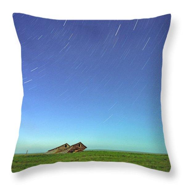 Star Trails Over Old Barns, Saskatchewan Throw Pillow by Robert Postma