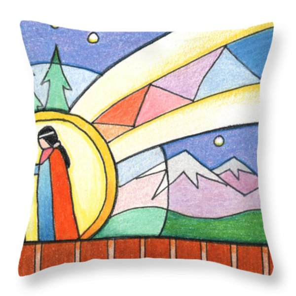 Star Woman Comes To Earth Throw Pillow by Amy S Turner