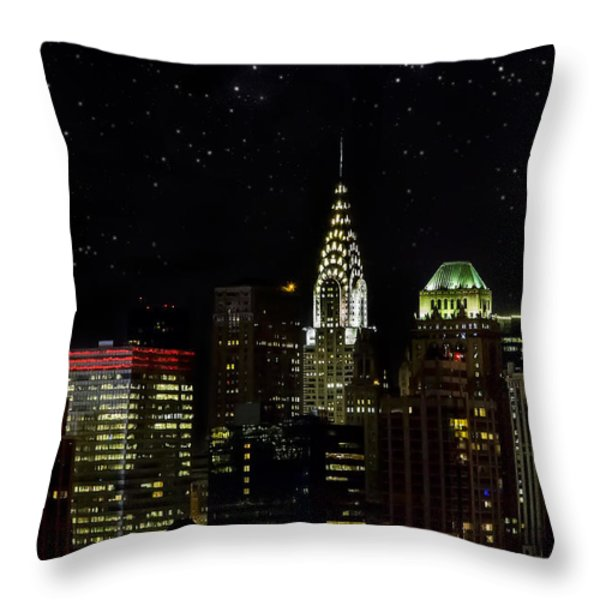 Starry Night Throw Pillow by Janet Fikar