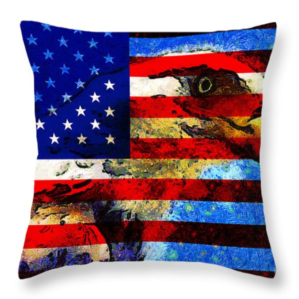 Starry Nights In America . 40D6715 Throw Pillow by Wingsdomain Art and Photography