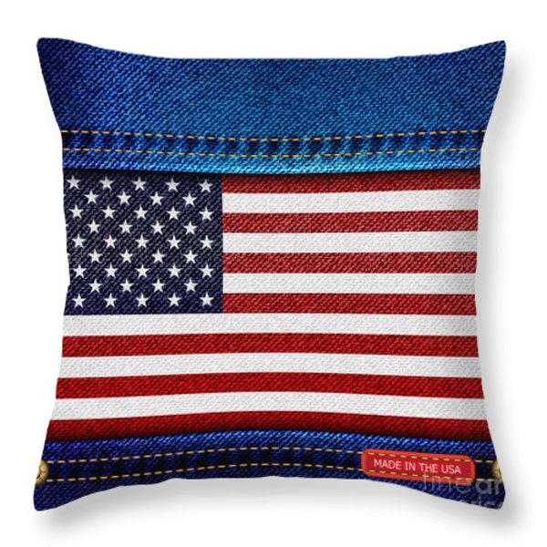 Stars And Stripes Denim Throw Pillow by Jane Rix