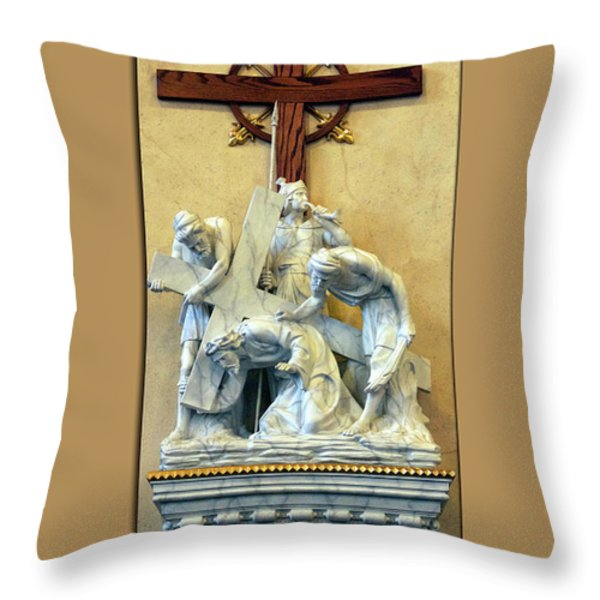 Station Of The Cross 03 Throw Pillow by Thomas Woolworth