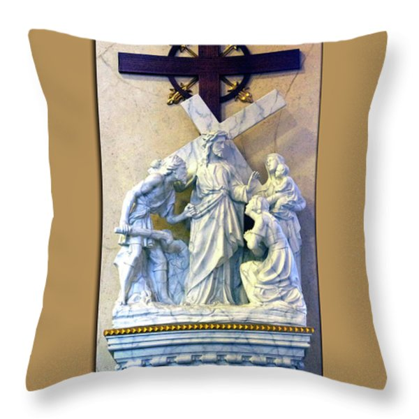 Station Of The Cross 08 Throw Pillow by Thomas Woolworth