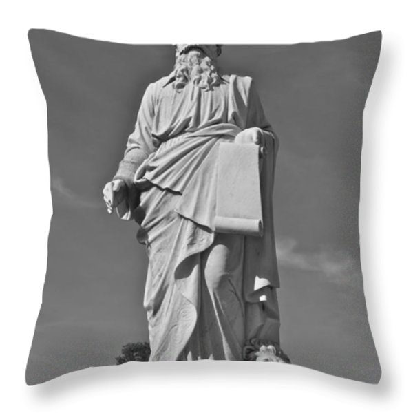 Statue 01 Black And White Throw Pillow by Thomas Woolworth