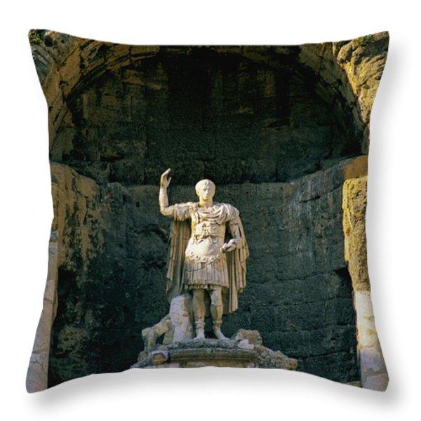 Statue de l'empereur Auguste dans le theatre d'Orange. Throw Pillow by BERNARD JAUBERT