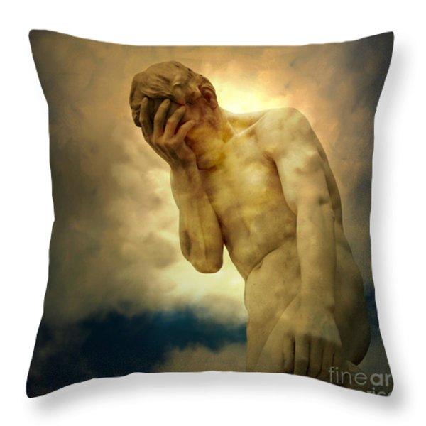 Statue of human covering face Throw Pillow by BERNARD JAUBERT