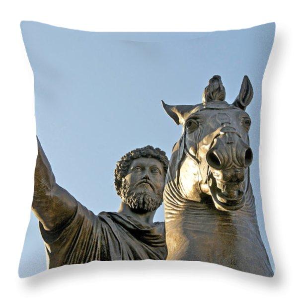 Statue Of Marcus Aurelius On Capitoline Hill Rome Lazio Italy Throw Pillow by Bernard Jaubert