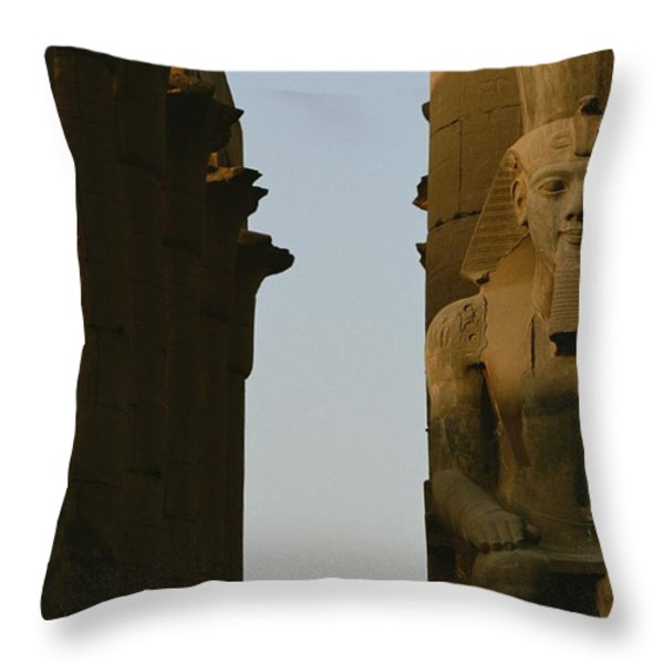Statue Of Ramses II In The Luxor Temple Throw Pillow by Kenneth Garrett