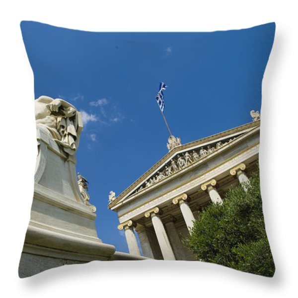 Statue Of Socrates In Front Throw Pillow by Richard Nowitz
