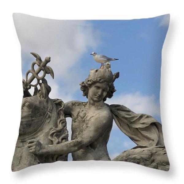 Statue . Place De La Concorde. Paris. France Throw Pillow by Bernard Jaubert