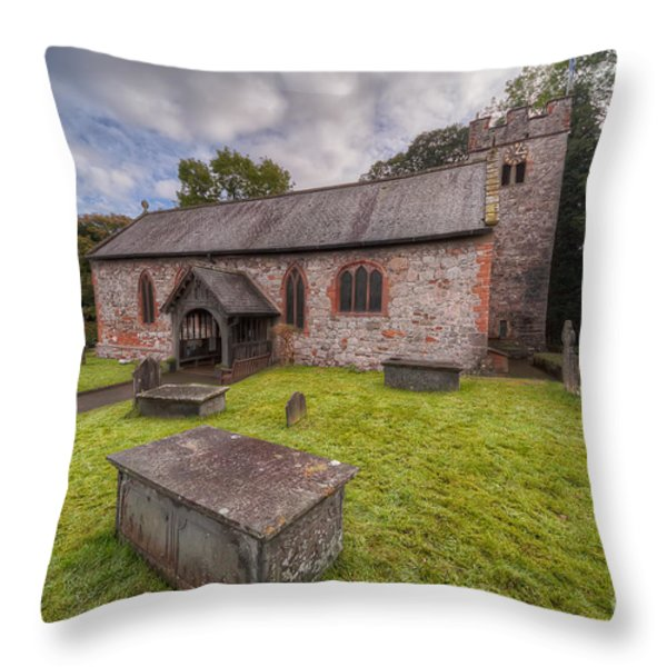 St.Dyfnog's Church Throw Pillow by Adrian Evans