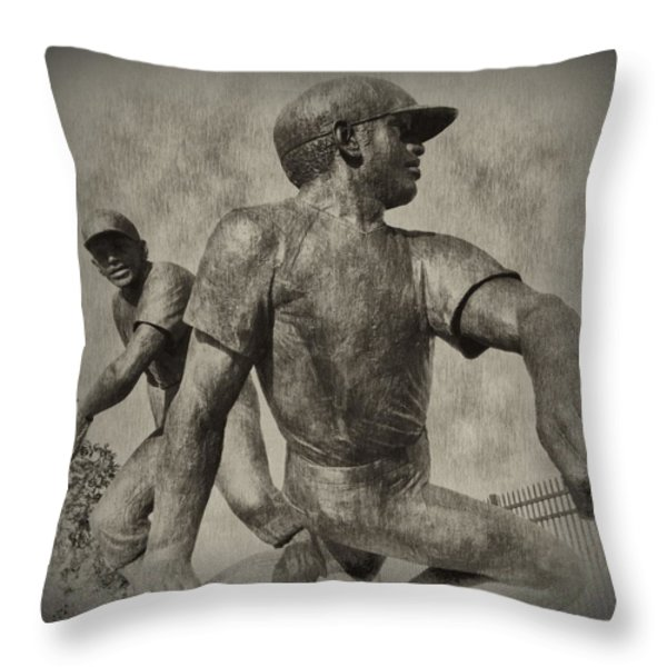 Stealing Third Throw Pillow by Bill Cannon