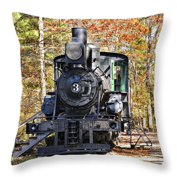 Steam Locomotive on Display Throw Pillow by Susan Leggett