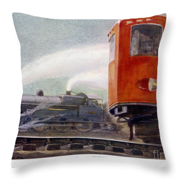 Steam Trains Versus Electric Throw Pillow by Mary Evans and Photo Researchers