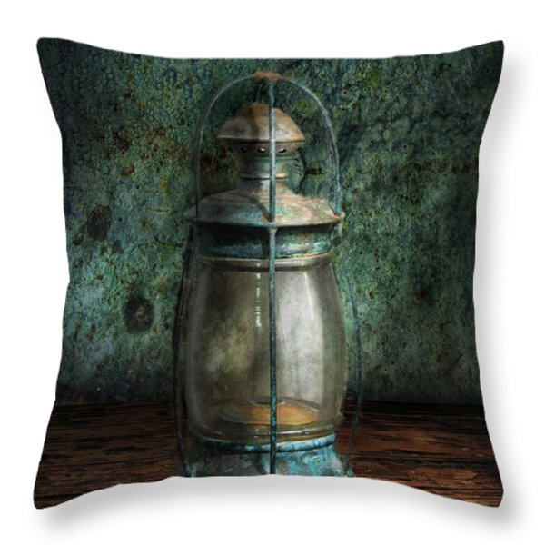 Steampunk - An Old Lantern Throw Pillow by Mike Savad