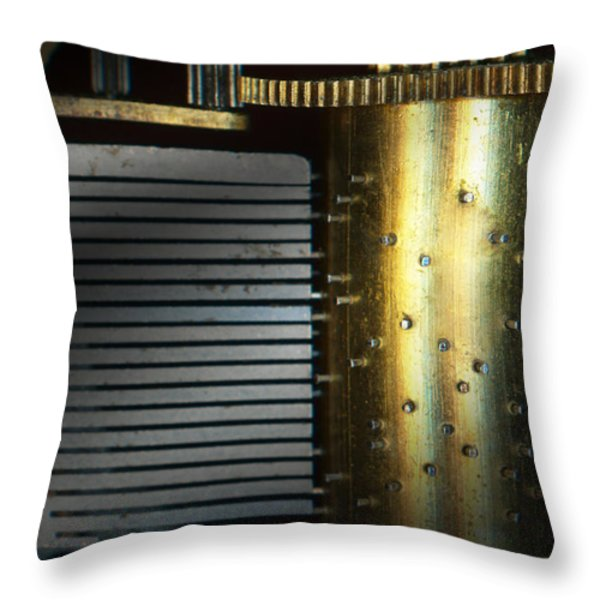 Steampunk - Gears - Music Machine Throw Pillow by Mike Savad