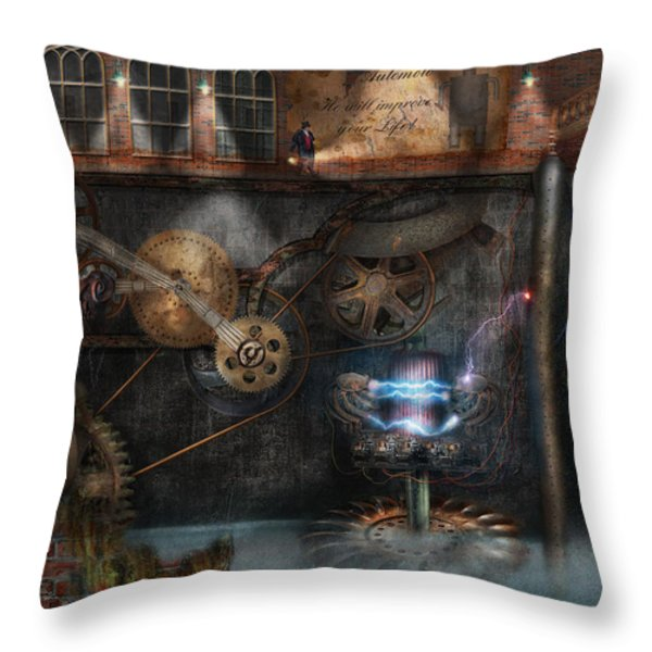 Steampunk - Industrial Society Throw Pillow by Mike Savad