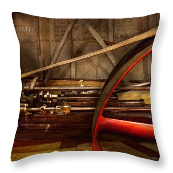 Steampunk - Machine - The wheel works Throw Pillow by Mike Savad