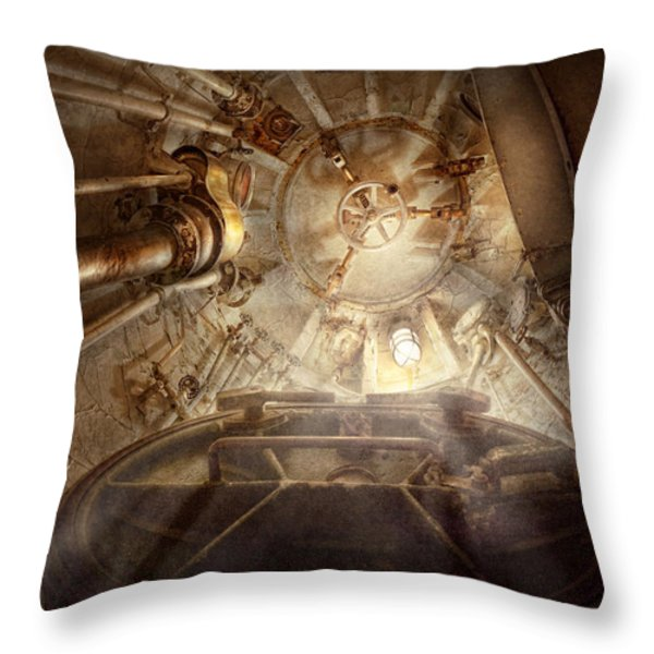 Steampunk - Naval - The Escape Hatch Throw Pillow by Mike Savad